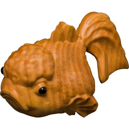 Wholesale Wood Fish Carving - Chinese wood hand engraving Feng shui lucky fish Wealth carp Statue Home decoration