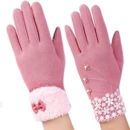 Pashmina del merletto online-Pizzo Pashmina Glove Women Touch Screen Winter Fashion Warm Bow Full Finger Mittens Outdoor Driving Ispessimento Guanti in cotone 11kh hh