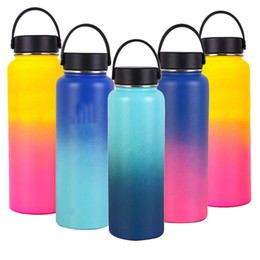 2019 бутылки с водой зеленого цвета 40oz Sports Water Bottle Stainless Steel Insulated Wide Mouth Straw Lid Drinking
