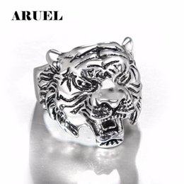 Wholesale Unique Tiger - whole saleARUEL Tiger Head Ring Men Personality Unique Men's Animal anillos fashion vintage FREE rings bague femme Punk us big Jewelry