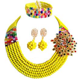 2019 nigerianischen gelben perlen schmuck set Wholesale 12pcs trübe gelbe Mehrfarbenperle multi Stränge Halskette Nigerian-Hochzeits-afrikanische Korn-Schmucksache-Set Kristall 6-SS29 günstig nigerianischen gelben perlen schmuck set