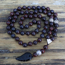 mens stone pendant necklace Promo Codes - Quality 8MM Black Natural stone Beads with black stone wing Pendant Mens Rosary Necklace Wooden Beads Mens Mala jewelry