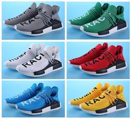 venda de botas de futebol frete grátis Desconto Nova Corrida Humana Pharrell Williams X Esportes Tênis de corrida desconto Barato Atlético Mens Sapatos de Treinamento Ao Ar Livre Sapatos Tamanho 36-47