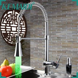 Wholesale Brass Wash Sink - KEMAIDI No Need Batteries LED Light Faucet Swivel Chrome Brass Wash Basin Sink Water Vessel Kitchen Torneira Faucet,Mixer Tap