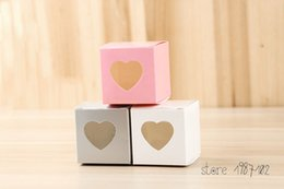 Wholesale Single Cupcakes Boxes - 50PCS LOT Mini Clear Heart Pvc Window Paper Single Cupcake Cake Box Wedding Favor Gift Boxes For Candy Wedding Favors And Gifts
