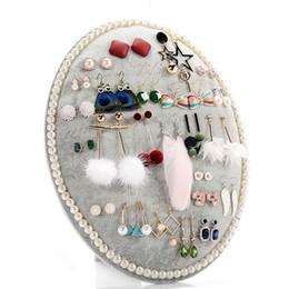 Exibição de brinco de jóias redondas on-line-Rodada Jóias Brinco Display Stand Reuniu Brincos de Placa de Tecido Vitrine Organizador Colares Pulseira Titular para brincos ficar
