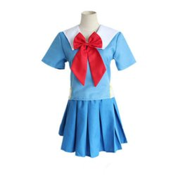 Wholesale school girl uniform anime - Japanese Anime The Future Diary Gasai Yuno Cosplay Costume School Girls Uniform Dress Set