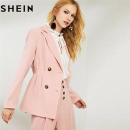 calça rosa de pernas largas Desconto SHEIN Pink Blazer Collar Notch Com Calças De Pernas Largas Womens Two Piece Outfits Elegante Breasted Blazer Longo E Calças Set