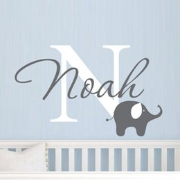 Wholesale Boys Name Wall Decals - Elephant with boys name wall decal - Custom Boys Name Vinyl Wall Sticker - Baby Nursery Wall Decal Elephant ,free shipping