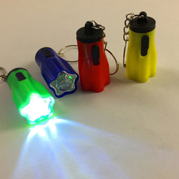 Wholesale keychain flashlight led bright - Plum LED Mini Keychain Bright Flashlight Torch Flower Shape Key Chain Ring Mixed Colors Party Favor Gift ZA5745