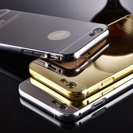 Wholesale Metal Pocket Mirror - Mirror case For iPhone X 8 7 6 6s Plus 5 5s 4 Case Aluminum Metal Frame back cover for Samsung J1 J1ace J2 J3 J5 J7 N7505 S7 S6 edge plus