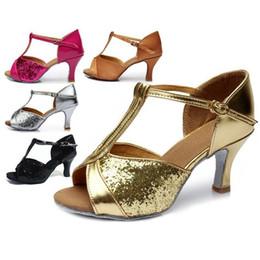 Wholesale tango dancing shoes women - Women's Sequin Ballroom Latin Tango Dance Shoes