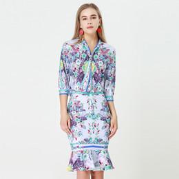 Argentina 2018 otoño Pretty Print Women establece alta calidad europea dulce manga tres cuartos camisas del arco + sirena faldas trajes delgados Suministro