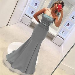 Wholesale Blue Mermaid Strapless Wedding Dress - 2017 Gray Lace Mermaid Bridesmaids Dresses Cheap Floor Length Satin Strapless Maid of Honor Gowns Sleeveless Wedding Party Dresses Plus Size