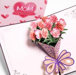 Papeles de acción de gracias online-3D Blooming Clavel Tarjeta Postal Papel Corte por láser Pop-up Tarjetas de Regalo de Acción de Gracias Gracias Día de la Madre Tarjeta