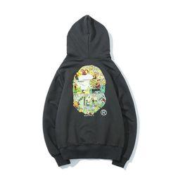 2019 недорогие белые свитера 2018 новый стиль обезьяна Sweatershirt Off мультфильм печатных тонкий свитер Джастин Бибер мужская повседневная капюшоном свободные сторона куртка белый дешевые продажа скидка недорогие белые свитера
