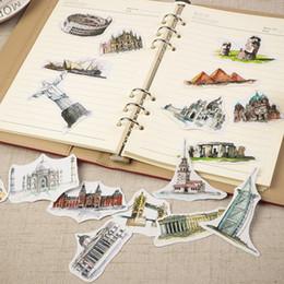 Wholesale diary decoration sticker - Wholesale-42 pcs bag Vintage famous European architecture paper sticker child dress up diy decoration sticky album diary scrapbooking