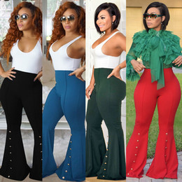 Wholesale Womens Army Green Pants - Ladies Casual Fashion Skinny Bell-Bottom Long Pants Womens Solid Color Flare Trousers