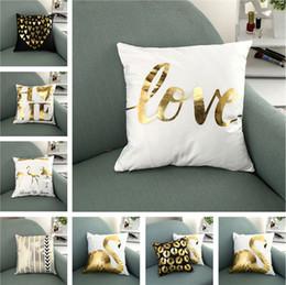 almohadas de oro Rebajas 45 * 45 CM Home Sofá Throw Pillowcase gold stamping PP algodón Blanco Funda de almohada Cojín Funda de almohada Decoración en blanco Decoración Regalo T1I737