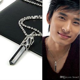 Wholesale Titanium Snake Pendant - Cheap 316 titanium steel men's pendants black onyx diamond crystal necklace titanium necklace men's necklace