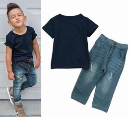 Wholesale boys 24 months jeans - 2018 summer boys clothes childrens clothing kids boy short sleeve tshirts navy blue tops + jeans denim pants baby outfits 2 pieces sets