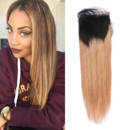 Wholesale 1b 27 Hair - Top Quality Virgin Peruvian Straight Human Hair Lace Closure ombre Color 1b 27 Free Middle Three Part