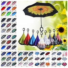 Wholesale Flowered Fabrics - Flower Pattern Umbrellas Inverted Umbrella Sunny Rainy Folding Umbrellas C Handle Double Layer Self Stand Inside Out Reverse Windproof