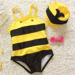Swimwear di un pezzo delle bambine online-Hot bambini One Piece Cute Little Bee Baby Boy Girl Swimwear Divertenti costumi da bagno Cartoon Plus Size Swim Bathing Suit
