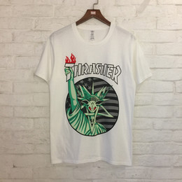 Wholesale Liberty Round - 2018 new style High quality cotton round neck short t-shirt Hip hop spoof Statue of liberty printing Men and women with money