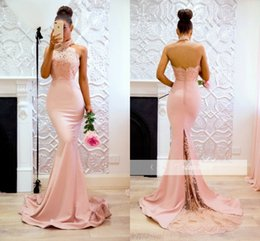 Wholesale Halter Top Dresses Plus Size - Sexy Lace Top Halter Prom Dresses Long High Neck Low Back Party Dress Mermaid Custom Made Evening Gowns
