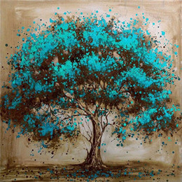 Wholesale home decoration canvas painting - Diamond embroidery landscape blue tree diy diamond painting cross stitch kit resin full round diamond mosaic home decoration yx4015