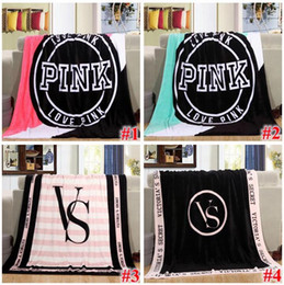 Wholesale Wholesale Pink Beach Towels - 4 Colors 130*150cm Pink Letter Blanket Soft Coral Velvet Beach Towel Blankets Air Conditioning Rugs Comfortable Carpet