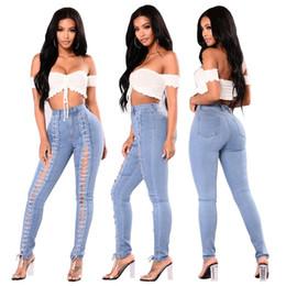 471ceba74c 2018 Otoño Nuevas Mujeres de Moda de Cintura Alta Elástico Vendaje Lace Up  Skinny Jeans Largo Denim Pantalones Lápiz Femenino Trouses Azul Claro