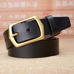 325930e24ee1 Haute qualité en cuir véritable ceinture hommes en laiton massif boucle en cuir  véritable mâle sangles causal jeans hommes ceintures luxe drop shipping ...
