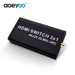 Wholesale Hdmi Rca Audio Splitter - AOEYOO Converter HDMI Switch Splitter 3 Port HDMI 1.4b Switcher Support 4K MHL With Remote Audio Output For PS3 XBOX360 HDMI Switch