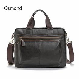 af4e59a63f2 Shoulder Osmond Black Messenger Bag Shoulder Bag Genuine Leather Casual Male  Man Briefcases Laptop Men s Crossbody Bags for Men 2019 Totes