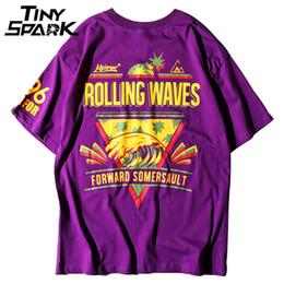 rotoli di panno di cotone Sconti Maglietta viola Hip Hop Rolling Wave Pineapple Print Uomo 100 T-Shirt in cotone Harajuku Nero Teen Cloths Top T Shirt manica corta Nuovo
