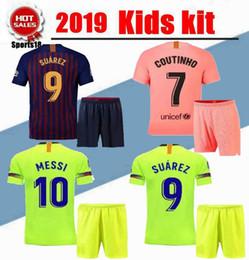 17b4b407a22 collared jersey shirts Coupons - 2019 kids kit third VIDAL MESSI SUAREZ Jersey  soccer home away