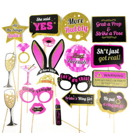 Wholesale wedding photobooth props - 20 Styles Wedding Decoration Photo Booth Prop Team Bride To Be Photobooth Bridal Shower Hen Bachelorette Party Supplies