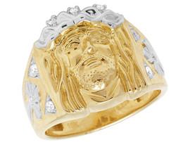Wholesale diamond ring 5ct - Mens 10K Yellow Gold Religious Christ Jesus Face Real Diamond Pinky Ring 2 5CT