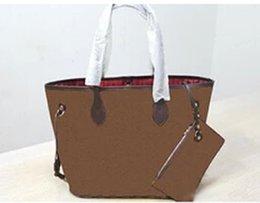 Wholesale Hobo Clutch Bag - 2PCS Set Neverful MM Classical designer women tote handbags large capacity famous brand day clutch purse high quality bolsas feminina wallet