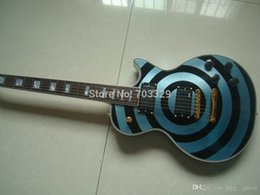 Wholesale Zakk Wylde Emg - Custom Shop Stolen Zakk Wylde bullseye Metallic Phelam Blue & Black Electric Guitar White Block Pearl Inlay Copy EMG Passive Pickups