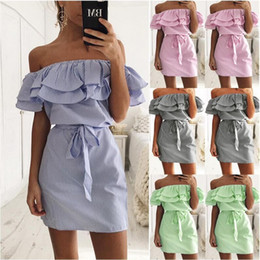Wholesale Printed Mini Dresses - Women Dress Striped Printing Slash Neck Off the Shoulder With Belt Ruffle Casual Plus Size S- 3XL Summer Short Sleeve Fashion Clothes