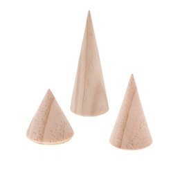 Wholesale wood jewelry display stands - 3Pcs Unpainted Plain Cone Wooden Ring Jewelry Display Stand Holder Organizer