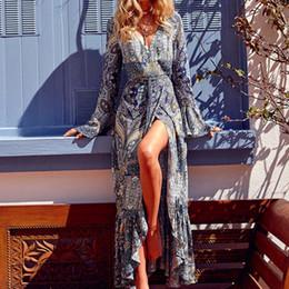 robes maxi en dentelle d'automne Promotion sexy col v profond à manches longues robe femmes boho lace haute fendue robe longue femmes automne hiver maxi robe