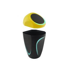 2019 lg ton bluetooth sans fil Creative voiture poubelles petite voiture stockage débris barils voiture fournitures jaune / vert / bleu (intérieur de la voiture)