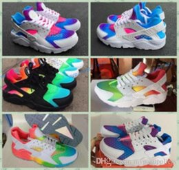 Wholesale Inkjet Pvc - Huaraches Sky Blue Rainbow Red White Inkjet CUSTOM CAMO Runing Shoes For Men Women Fashion Air Huarache Breathable Sneakers Eur 36-45