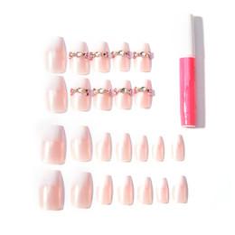 Canada Faux ongles 3D Mignons faux ongles français avec adhésif latéral bouts d'ongle complet mi-long nuptiale crème nu rose pur couleur 24pcs / set cheap cream nude Offre