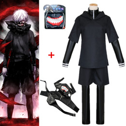 Masque kaneki goule en Ligne-Taille asiatique Japon Tokyo Anime Goule Kaneki Ken Party cosplay costume noir Halloween Uniformes à capuche masque facial
