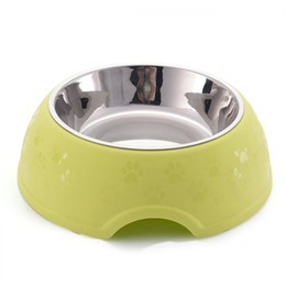 Wholesale Bowl Feeders Stainless - Stainless Steel Dog Bowl Large Capacity Pet Feeder Paws Puppy Cat Food Bowls Round Shape Water Container for Dogs Pet Products